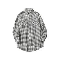 第四十九天清新格子衬衣外套潮流春秋季衣服宽松长袖衬衫男士上衣