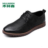 木林森男鞋 秋季新款牛皮鞋都市商务鞋系带耐磨时尚百搭柔软休闲鞋77053315