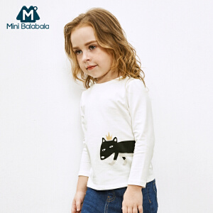 迷你巴拉巴拉女童印花T恤秋新款童装女幼童圆领长袖套头上衣