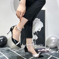 法式少女高跟鞋女细跟尖头单鞋2019春款漆皮一字扣百搭网红猫跟鞋夏季百搭鞋