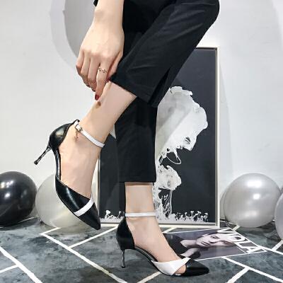 法式少女高跟鞋女细跟尖头单鞋2019春款漆皮一字扣百搭网红猫跟鞋夏季百搭鞋 精挑细选