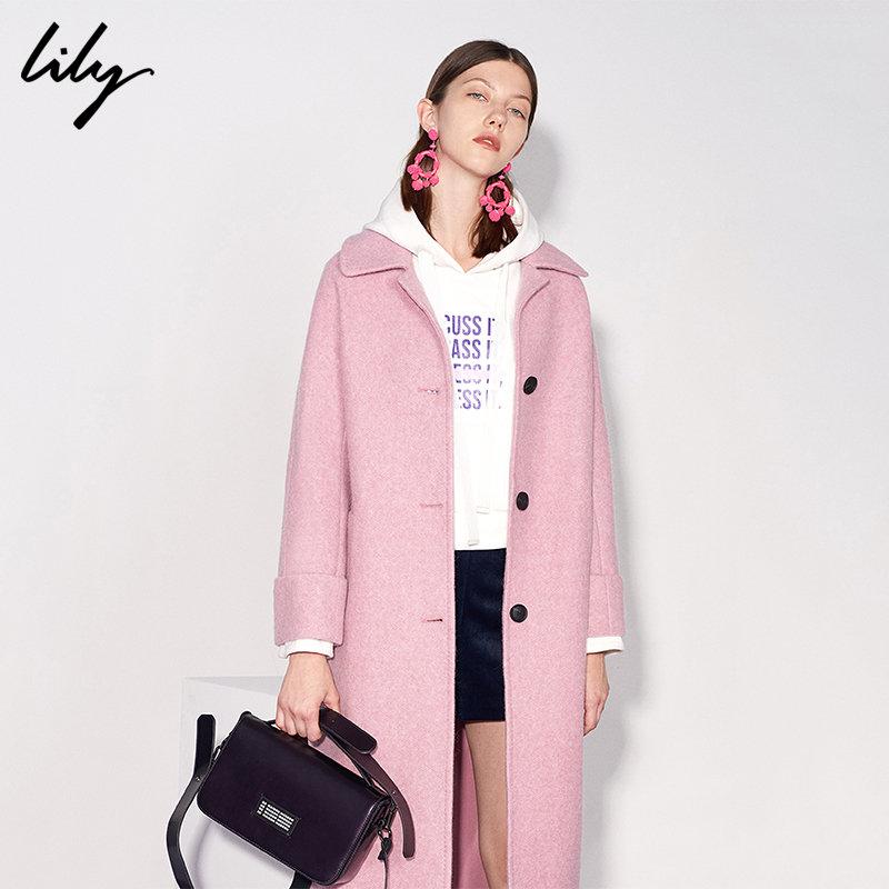 Lily春秋新款女装通勤H型直筒中长款毛呢大衣外套118430F1125