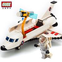 GUDI 儿童拼装积木战机航天飞机系列拼插玩具益智组装小颗粒模型