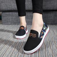 老北京布鞋女鞋平跟休闲鞋单鞋跑步鞋女一脚蹬浅口低帮春款学生鞋