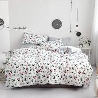 床上用品四件套全棉纯棉床单床笠款被套纯棉北欧风2.0/1.8m床双人