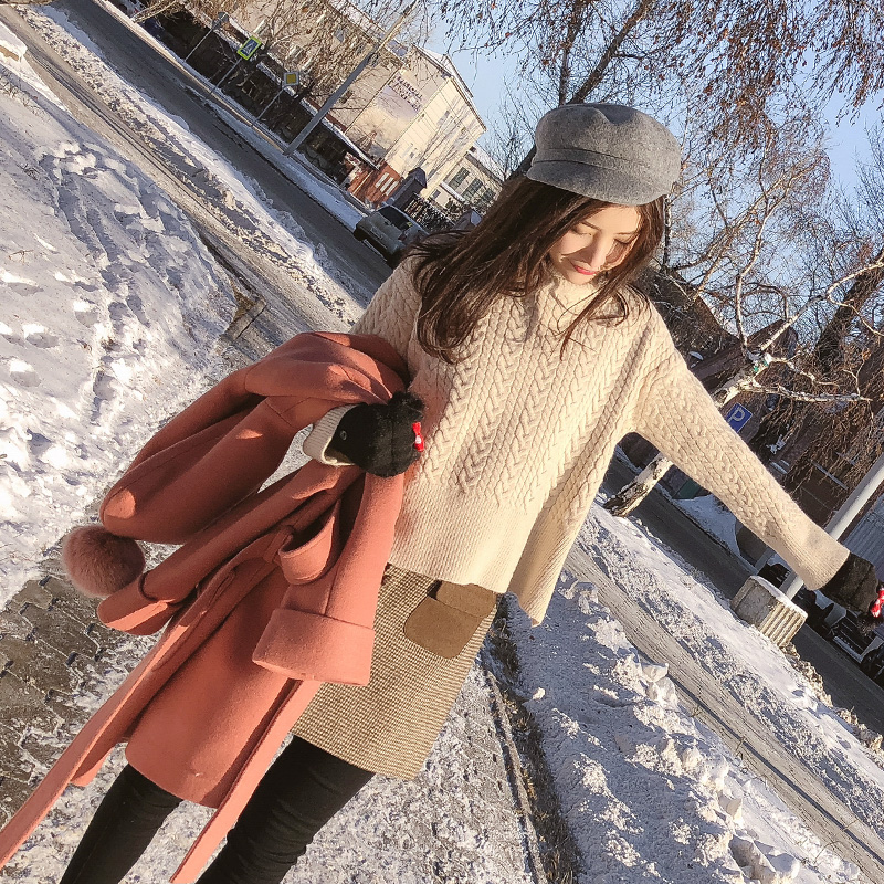 谜秀高领毛衣女2017冬装新款韩版宽松麻花针织衫短款打底衫加厚潮