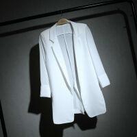 韩版早秋中长款百搭雪纺小西装女防晒衣宽松修身型显瘦白西服大码薄外套