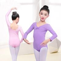 儿童舞蹈服长袖女童秋冬季连体芭蕾舞服装练功服纯棉考级服形体衣