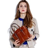 2018新款潮流酷欧美时尚真皮女包女牛皮包包大容量手提包