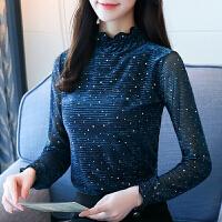 韩版大码女装长袖打底衫百搭上衣服内搭高领T恤薄款208新品 孔雀蓝 正品授权 S 建议95斤内