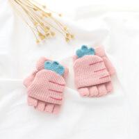 儿童宝宝秋冬季翻盖半指手套小孩毛线针织保暖男女孩露指