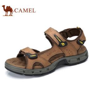 camel骆驼男鞋  夏季新品 日常户外休闲透气牛皮沙滩鞋 男士凉鞋