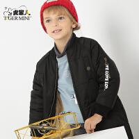 小虎宝儿童装男童中长款棉衣儿童棉袄男童2017冬季新款 韩版 加绒