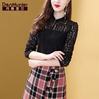 【开业狂欢 到手价:164元】丹慕妮尔黑色蕾丝上衣女长袖2019秋季新款时尚设计感小众心机衬衫