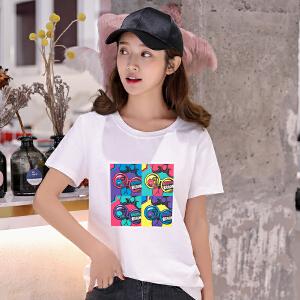 夏季短袖t恤女宽松韩版学生百搭韩范半袖上衣春夏装