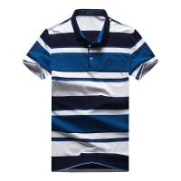 吉普JEEP夏装新款翻领弹力短袖T恤衫 男士商务休闲宽松polo衫 大码宽条纹休恤衫