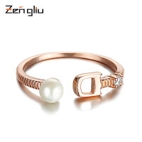 925银戒指女贝珠时尚韩国镀18K玫瑰金戒指关节简约对戒食指环饰品