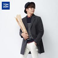 【2件1.5折】唐狮男装春季新款男士外套韩版纯色长款呢大衣休闲西装外套