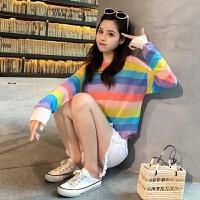 夏秋冰丝透气圆领针织衫女彩虹条纹长袖大码上衣套头空调衫防晒衣 彩虹上衣