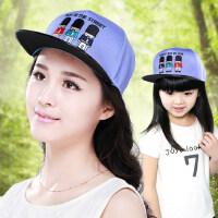韩版潮卡通人物亲子款刺绣平沿休闲鸭舌帽 男童女童嘻哈帽出游棒球帽