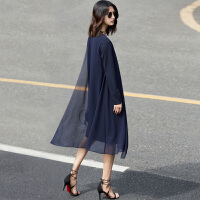 Amii极简欧货潮不规则拼接裙子女2018秋新款雪纺纯色中长款连衣裙.