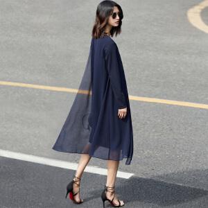 Amii[极简主义]欧货潮不规则拼接裙子2018秋新雪纺中长连衣裙
