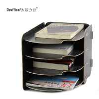 D057创意木质大政桌面办公文件栏架框A4纸4层多层宣传资料架