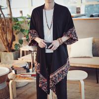 夏装新款中国风棉麻半袖衬衫男中长款拼色风衣男花色透气外套