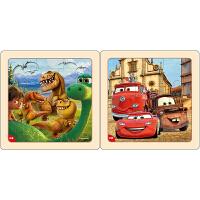 迪士尼拼图玩具 9片木制框拼标准版二合一(恐龙2672+赛车2673)