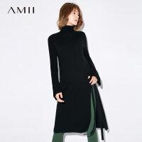 Amii[极简主义]2017秋装新款宽松高领喇叭袖绑带开衩毛衣11784870