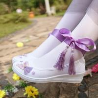 复古风改良版汉服鞋子女搭配古装学生白色舞蹈刺绣花流苏元素cos