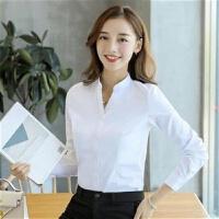 白色女士衬衫职业气质短袖长袖修身立领上衣OL衬衣上班工作正装棉 C36-1 白色立领长袖 S 35