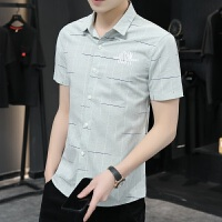 verhouse 短袖衬衣男夏季新款个性印花青年男士衬衫时尚修身免烫开衫上衣