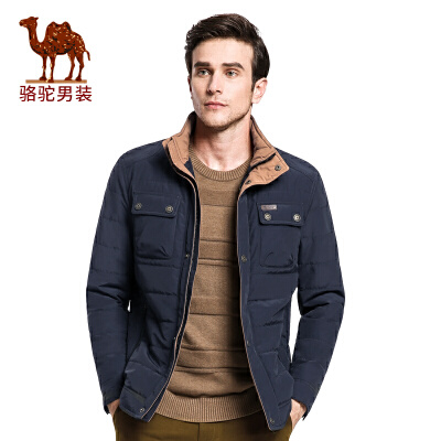 骆驼男装棉服   冬季时尚立领美式休闲长袖外套纯色棉衣男