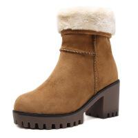 №【2019新款】冬天穿的百搭短靴欧美加绒厚底粗跟棉靴时尚雪地靴加厚女 深棕色