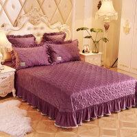 欧式加厚珊瑚绒床盖三件套冬季水晶绒保暖夹棉单件床单双人 床盖250cmx270cm 枕套48*74cm一对