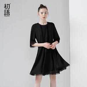 初语2017夏装新款 休闲宽松五分袖中袖连衣裙女