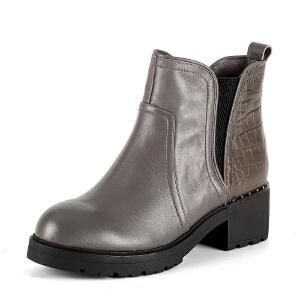 【3折到手价149.7元】索菲娅Safiya牛皮圆头中跟拉链车缝线深口女鞋SF54117312