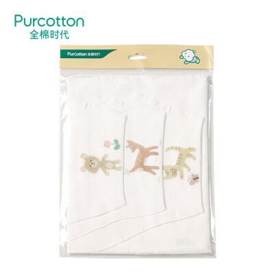 全棉时代   (小熊和小花+小鹿和小鸟+小猫扑蝴蝶)纱布汗巾25x50cm 3条/袋