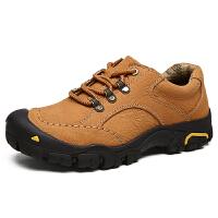 夏季男鞋真皮男士户外休闲鞋牛皮透气防滑旅游登山鞋大头皮鞋 土黄色 6323