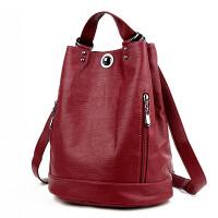 双肩包女软皮新款潮包包大容量旅行水桶包时尚妈咪包两用背包
