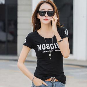 夏季简约短袖T恤女韩版修身半袖T��上衣显瘦打底衫白色体恤棉WK7085