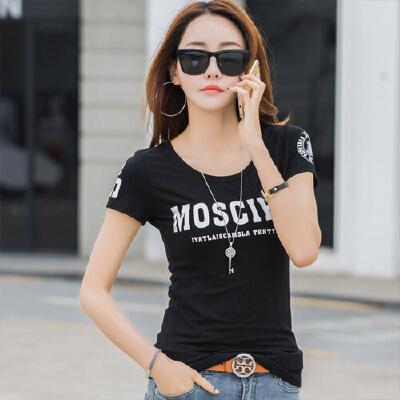 夏季简约短袖T恤女韩版修身半袖T桖上衣显瘦打底衫白色体恤棉WK7085