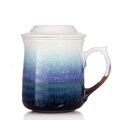 乾唐轩活瓷杯雪晶浪纹三件杯创意陶瓷茶水杯子带盖茶漏办公