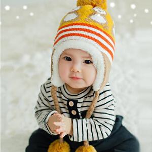 Yinbeler毛绒双层婴儿毛线帽针织企鹅图案毛球保暖防寒加绒毛线帽