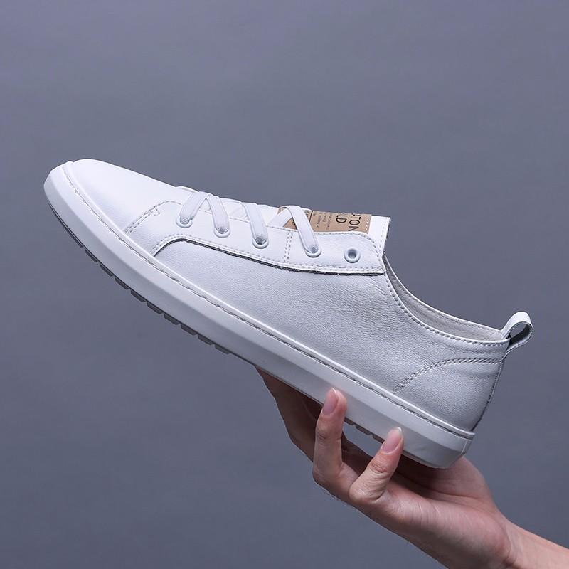 夏季时尚 男鞋真皮休闲鞋男夏季新品韩版鞋子男潮流板鞋男士牛皮小白鞋运动休闲皮鞋