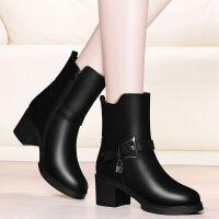 加绒短靴女粗跟女鞋2019新款冬季中跟女士皮鞋黑色靴子保暖中筒靴