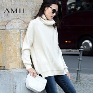 AMII[极简主义]冬新品宽松高领落肩开衩休闲毛衣