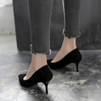 尖头高跟鞋女夏2019新款黑色单鞋韩版中跟百搭细跟工作鞋猫跟鞋夏季百搭鞋