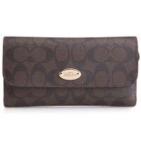 【9.9新】COACH女款深棕色皮革长款钱包皮夹